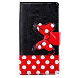 Fashion Girls Cute Cartoon Design Black Red Bow Bowknot Polka Dot Wallet Flip Case Folio PU Leather Stand Cover with Card Slots for Motorola Droid Turbo XT1254 + Free Lovely Gift