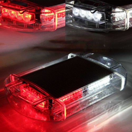 Xtreme® White & Red 40 Led High Intensity Law Enforcement Emergency Hazard Warning Flashing Car Truck Construction Led Top Roof Mini Bar Strobe Light With Magnetic Base