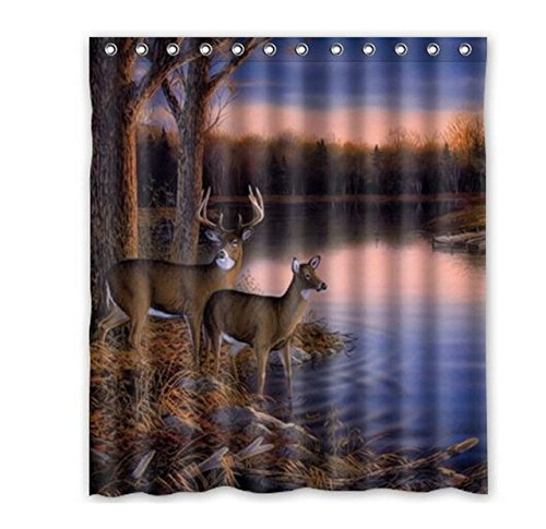 Singing bathroom BravoVision Fashion Custom River Edge Deers Waterproof Shower Curtain 36