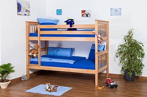 Lit pour enfant / Lit superposé Mario en hêtre massif naturel, sommier à lattes déroulable inclus - 90 x 200 cm