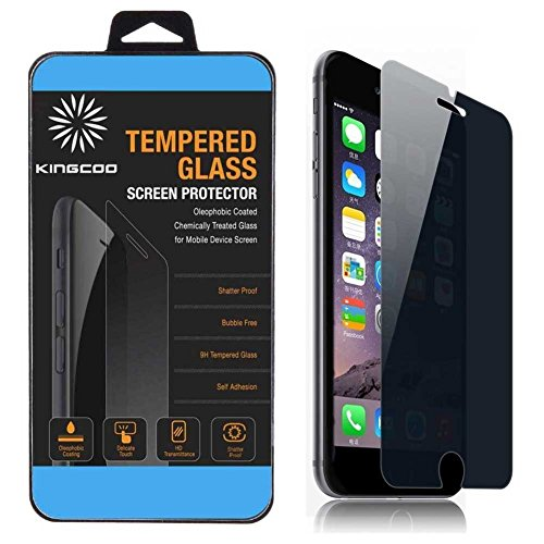 iPhone 6S Privacy Screen Protector, KINGCOO Apple iPhone 6 Privacy Screen Protector Anti-Spy Tempered Glass Screen Guard - Keep Your Information Private - Protect Your Screen from Scratches and Drops