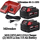 Milwaukee 48-59-1850 M18 RED LITHIUM XC 5.0 Ah Batteries (2) + 48-59-1812 M12 and M18 Multi Voltage Charger kit (Color: Red)