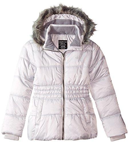Calvin Klein Big Girls' Frost Peplum Puffer Jacket, Gray, 16