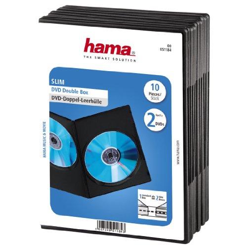 Hama Custodia Slim per 2 DVD, Confezione da 10, colore: Nero
