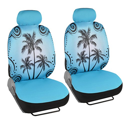 Blue Palm Tree Car Seat Covers - Tropical Islander - Front Universal Fit (Blue Car Seat Covers For A Sedan compare prices)
