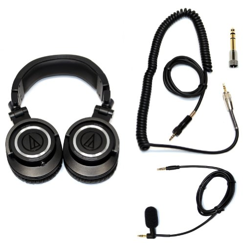Ath-M50 Professional Closed-Back Studio Headphones With Removable Locking Coiled Cable And Smartphone/Iphone Cable With Mini-Boom Microphone For Portable Listening And Making Calls