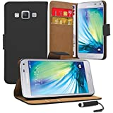 Samsung Galaxy A3 - Premium Leather Book Wallet Case Cover Pouch + Screen Protector With Microfibre Polishing Cloth + Touch Screen Stylus Pen