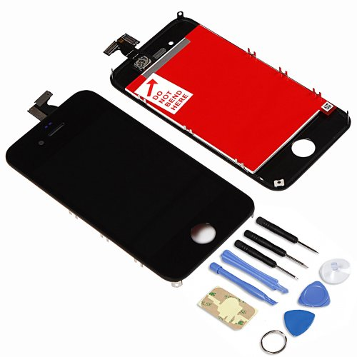 New Black Retina Touch Screen Digitizer And Lcd Display Assembly For Apple Iphone 4 Verizon Sprint Cdma + Free Tools And Adhesive