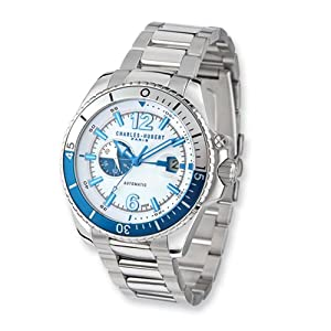 White/blue Dial Stainless Steel Automatic Watch by Charles Hubert Paris Watches, Best Quality Free Gift Box Satisfaction Guaranteed