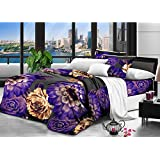 Nine Living Polar Fleece Bedsheet Cum Comforter With Pillow Cover- Purple (Set Of 3)