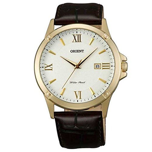 Orient FUNF4001W0 40mm Gold Plated Stainless Steel Case Brown Calfskin Mineral Men's Watch