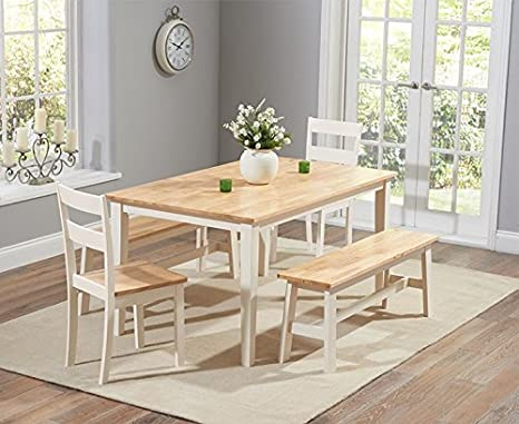 Chichester 150cm Solid Oak Dining Table + 2 Dining Chairs + 2 Large Benches (Colours Oak & Cream/White/Oak & Grey/Oak & White)