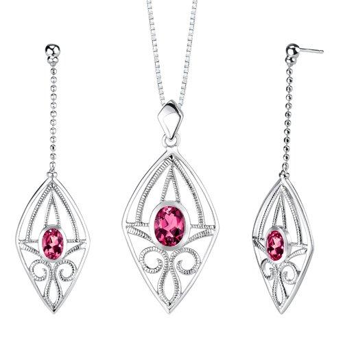 Revoni Oval Shape Ruby Pendant Earrings Set in Sterling Silver