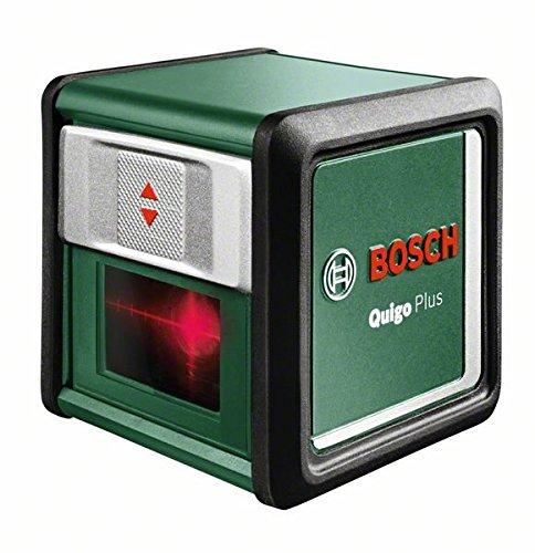 Bosch-DIY-Kreuzlinien-Laser-Quigo-Plus-2-x-AAA-Batterien-Schnell-Montage-Platte-Stativ-Karton-Reichweite-7-m-Neigungsfunktion-Selbstnivellierend
