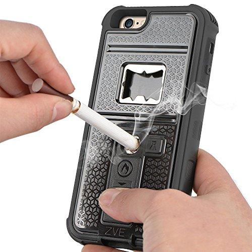 ZVE iPhone6s plus ケース iPhone6 plus ケース ライター 栓抜き カメラ三脚機能付きケース 4.7インチ 耐衝撃 防塵カバー(ブラック)