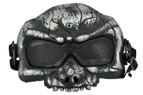 Maschera protettiva per softair, a forma di scheletro di extra terrestre, colore: metallo spazzolato