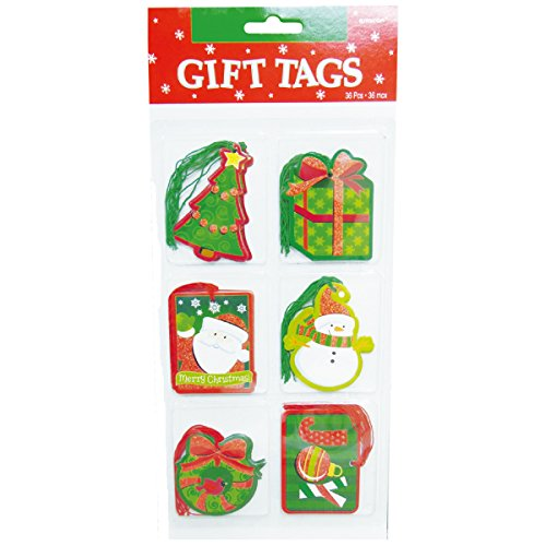 "Amscan Tape-On Holiday Friends Christmas Paper Tags (36 Pack), 3-1/4 x 2-1/4"", Multicolor"