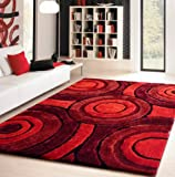 High Quality ~8 x 11 Living Shag Maroon Red Luxurious Area Rug Hand Tufted Hand Made ON SALE!