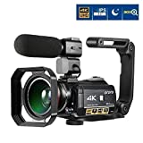 Ordro AC3 4K Camcorder 3.1 IPS Ultra HD WiFi Video Camera (Black) (Color: Black)