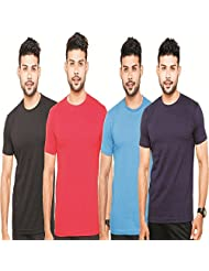 Fleximaa Men's Round Neck T-Shirt Plain Combo Offer (Pack Of 4) - Black, Red, Royal Blue & Navy Blue Colors. Sizes...