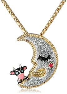 Betsey Johnson Women's Moon Pendant Necklace Silver Pendant Necklace
