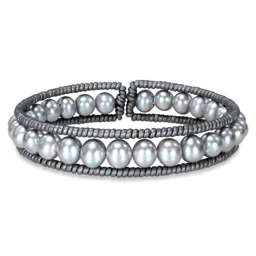 Freshwater Grey Pearl and Grey Leather Wire Bangle Bracelet (8in)