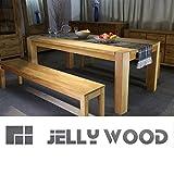 Jellywood-Esstisch-MILANO-in-Eiche-Massivholz-200-x-100-cm-Tisch-Farbton-Natur-Oberflche-gelt-12-x-12-cm-solide-Beine-durchgestossen-geschwungene-Kante