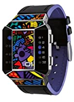 01TheOne Unisex SC125B1 Split Screen Romero Britto Art Purple Watch