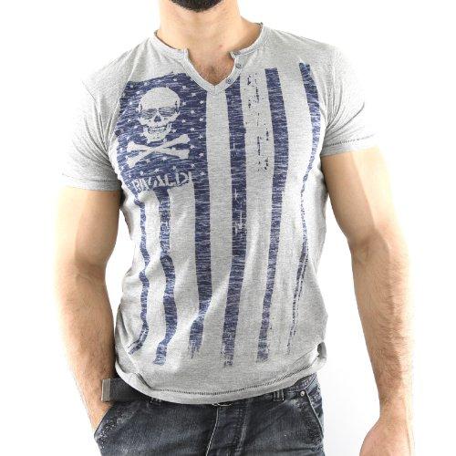 MODASY-LGR - T-shirt scollo a v - Rivaldi - MODASY - Unisex - Moda - grigio chiaro - Grigio, Large