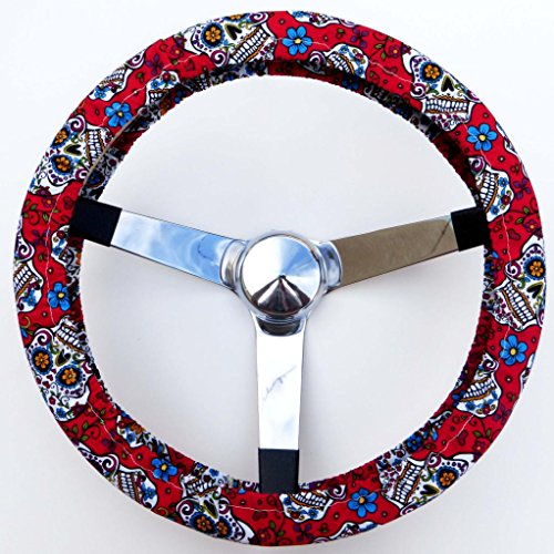 Mana Trading Handmade Steering Wheel Cover Red Folkloric Sugar Skull (Steering Wheel Cover Sugar Skull compare prices)