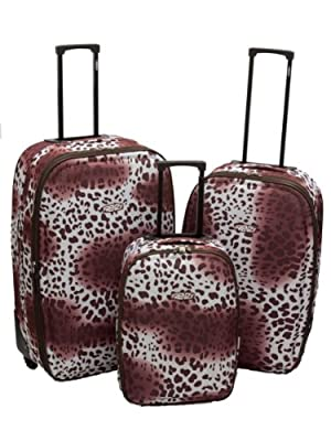 Safari Brown Leopard Print Luggage Suitcase - 3Pc Set