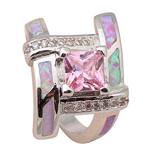 NEROY Pink Crystal & Fire Created Opal 925 Stamped Silver Party Rings For Women Fashion Jewelry Usa Size 10 Or666A (Pink Fire Crystals compare prices)