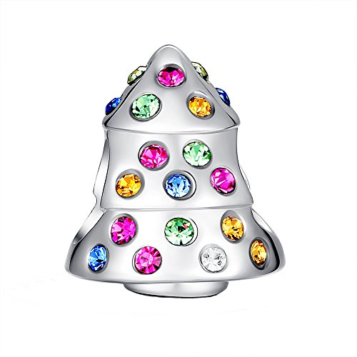 Glamulet Sports Women's 925 Sterling Silver Colorful Crystal Funky Christmas Tree Bead Charm Fits Pandora Bracelet