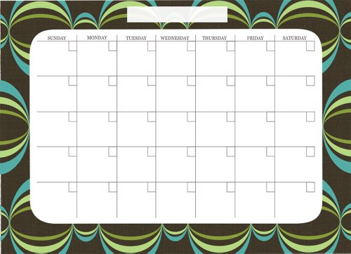 Brewster Wall Pops WPE99019 Peel & Stick Loopy Dry-Erase Monthly Calendar with Marker- Blue - 1
