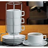HIC 9-Piece Stackable Cappuccino Coffee Tea Set, Fine White Porcelain, Set Includes 4 (7-Ounce) Cups with Matching Saucers and Metal Stand, Gift Boxed