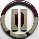 Wood & Beige Combo Steering Wheel Cover