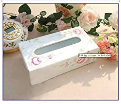 Shabby Chic Handpainted Rose Wood Tissue Box Cover List  :  home decoration box cover victorias deco victoriasdeco