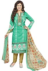Shaily Retails Women's Bollywood Turquoise Cotton Printed Dress Material