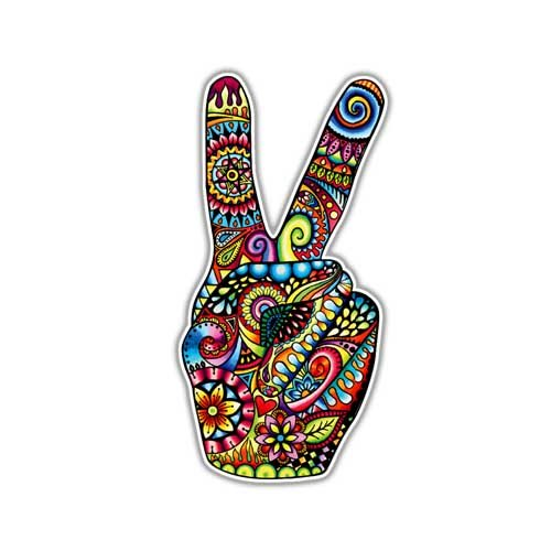 MeganJDesigns Hippie Peace Sign Hand Sticker - Colorful Flower Car Decal Peace Sign Symbol Vinyl Bumper Sticker 70s Cute Peace Sign Wall Art Love Floral (Colorful Flower Car Decals compare prices)