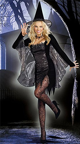GALHAM - Sexy Black Long Sleeve Sequined Adult Fancy Magic Witch Women Costume