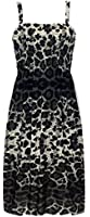 New Ladies Floral Print Shirred Mini Dress Womens Strappy Summer Beach Sun Dress Sizes 8-18