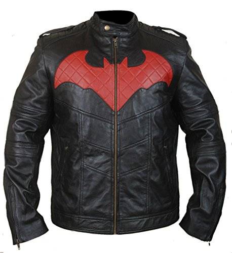 BillzDen Men's Fashion Men's Batman Leather Jacket Lamb Black 5X-Large (Original Batman Suit)