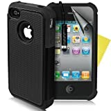 Supergets® Shock Proof Dual Layer Apple Iphone 4 4g 4s Protective Case,Screen Protector And Polishing Cloth - Black