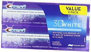 Crest 3D White Vivid Anticavity Teeth Whitening Radiant Mint Toothpaste 5.8oz, Twin Pack
