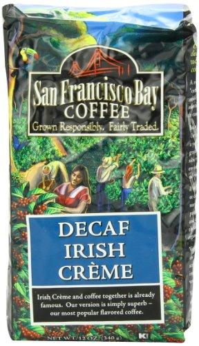 San Francisco Bay Coffee Whole Bean Decaf Irish Creme Coffee, 12-Ounce Bag