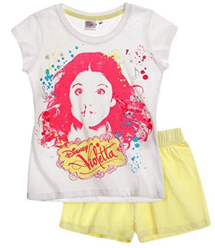 Violetta Pyjama Kollektion 2015 Shortie 122 128 134 140 146 152 158 164 170 176 Schlafanzug Kurz Shorty Mädchen Nachtwäsche Disney Channel Weiß-Gelb (134 - 140)