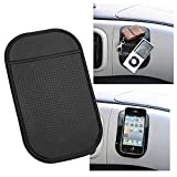 Magic Mat TWIN PACK -Universal Magic Sticky Anti-Slip black Securely holds Cell Phones, GPS's, Garage Door Openers, Sunglasses, Pens, Coins. Cleans with Soap and Water to renew original luster and Tacky-ness