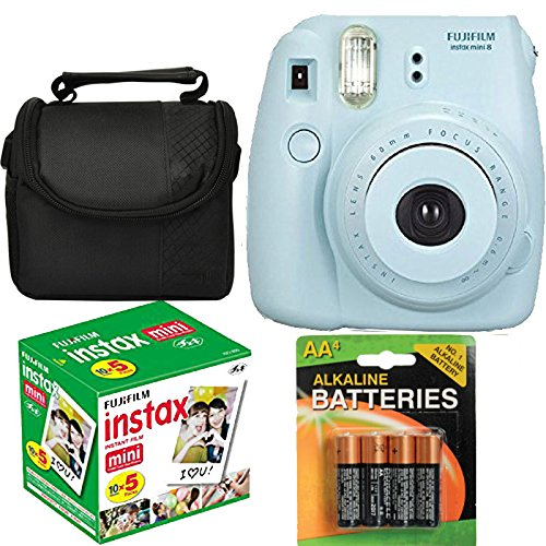 Fujifilm Instax Mini 8 Instant Film Camera (Blue) With Fujifilm Instax Mini 5 Pack Instant Film (50 Shots) + Compact Bag Case + Batteries Top Kit (Import No us Warranty)