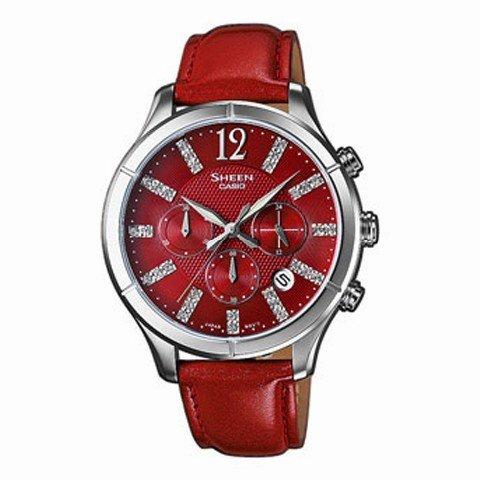Casio Damen-Armbanduhr Chronograph Quarz Leder SHE-5020L-4AEF