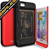 iPhone 5 Case, TORU® [CARD SLOT] iPhone 5S Wallet Case [SHOCKPROOF] [KICKSTAND] [MIRROR] Protective Hybrid Card Case for iPhone 5S (2013) / iPhone 5 (2012) - Red (115STPUSKS-RD)